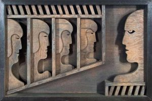 The Gallery, Leon Bibel, wood sculpture, 1977