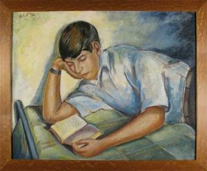 Young Boy Reading, Leon Bibe, oil on canvas, 1936