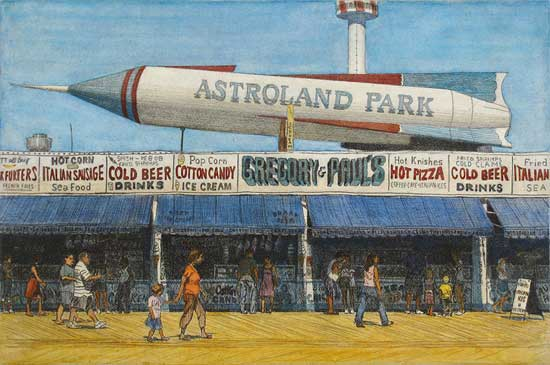 Astroland, Eric March, hand colored, etching, 2009