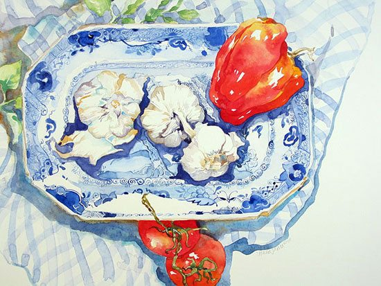 Italian Dinner Hazel Jarvis watercolor 2006