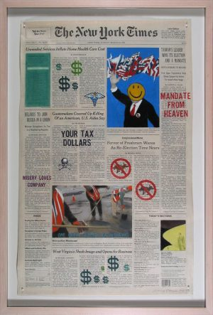 "March 24, 1996 From the ""Front Pages, New York Times"" series Nancy Chunn mixed media on newspaper March 24, 1996"