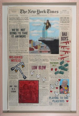 "May 23rd, 1996 ""Front Pages, New York Times"" series Nancy Chunn mixed media on newspaper May 23, 1996"
