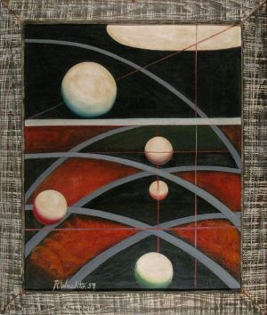 Space Curves, R. Waato, oil on canvas in original frame, 1959