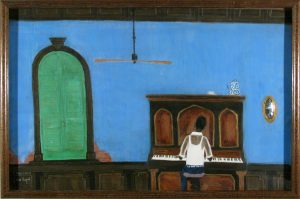 piano player, folk art, mixed media, c.1970