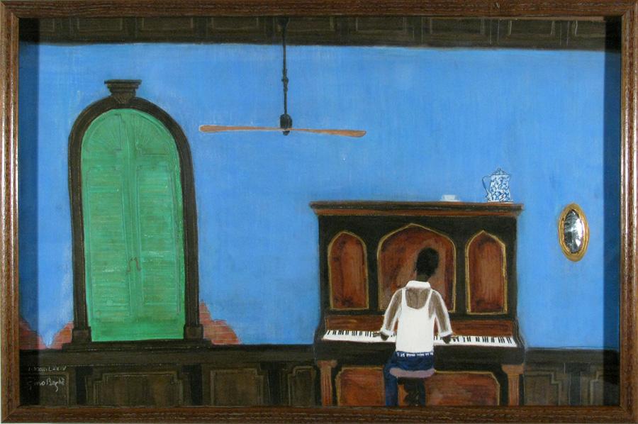 piano player, folk art, mixed media, c.1970