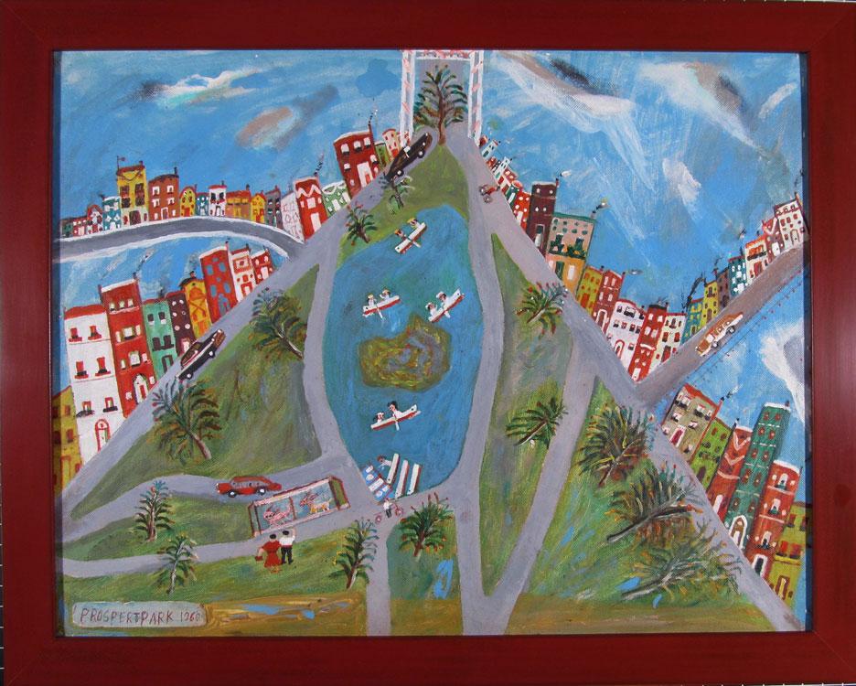 Prospect Park, folk art, oil painting